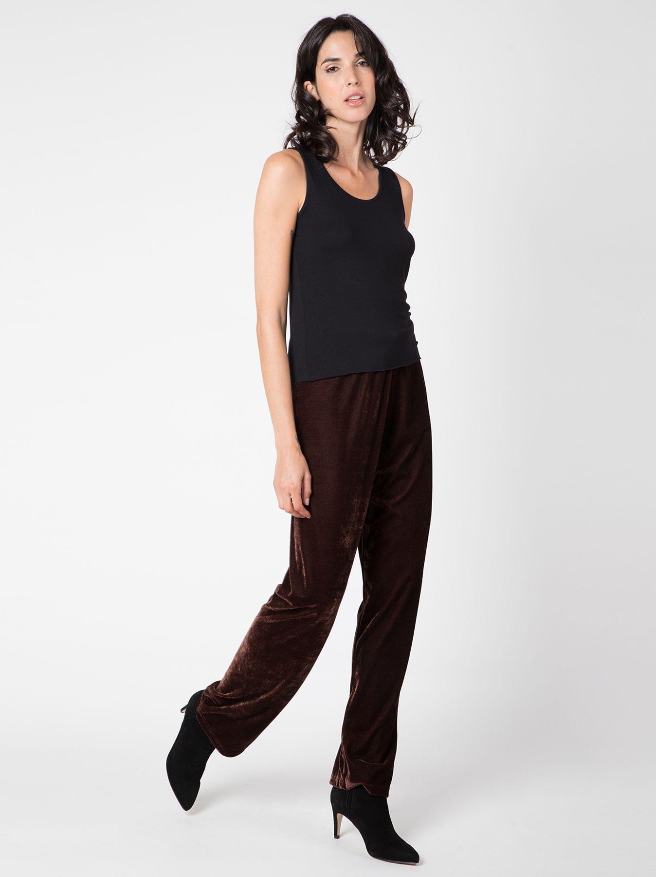 Pantalone morbido in velluto MARRONE SCURO