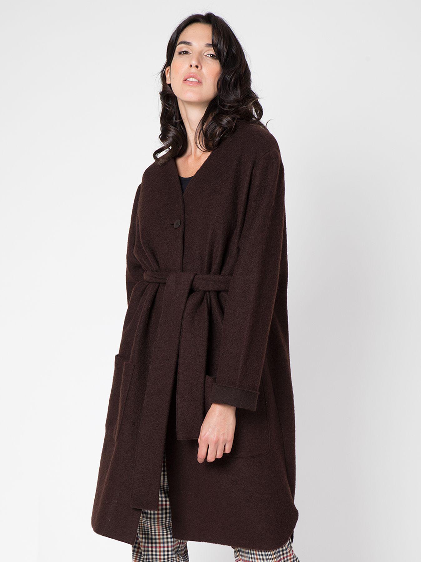 Giacca lunga in lana cotta TESTA DI MORO