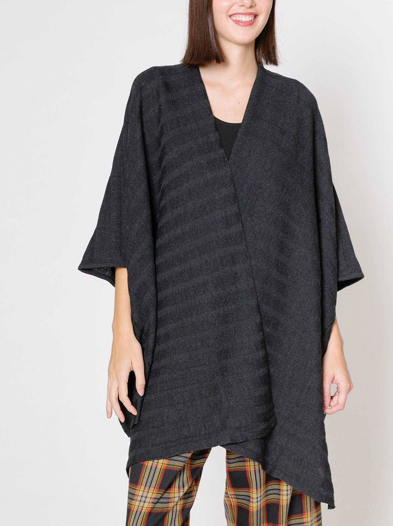 Mantella poncho oversize grigio scuro