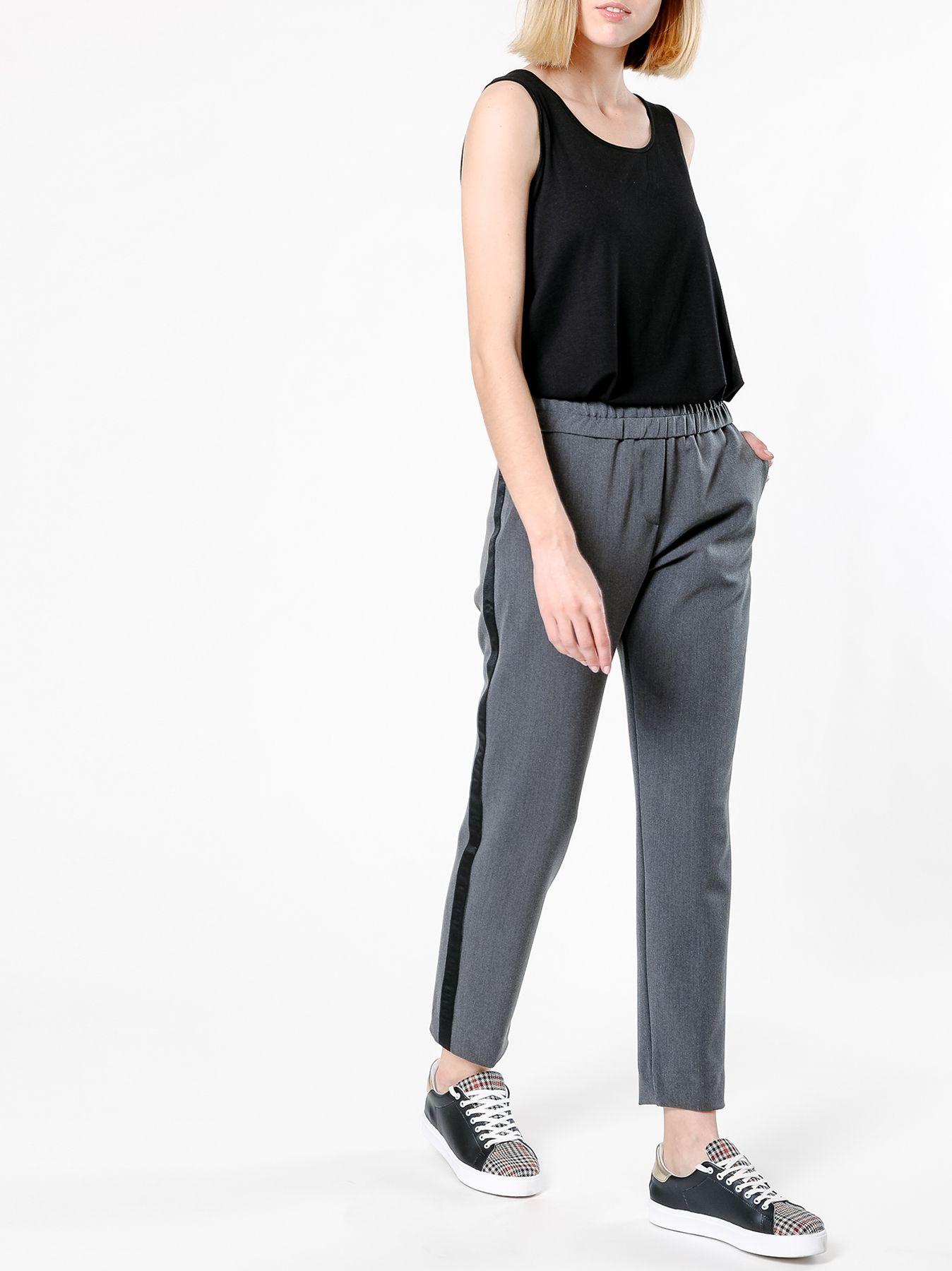 Pantalone sigarette con banda laterale
