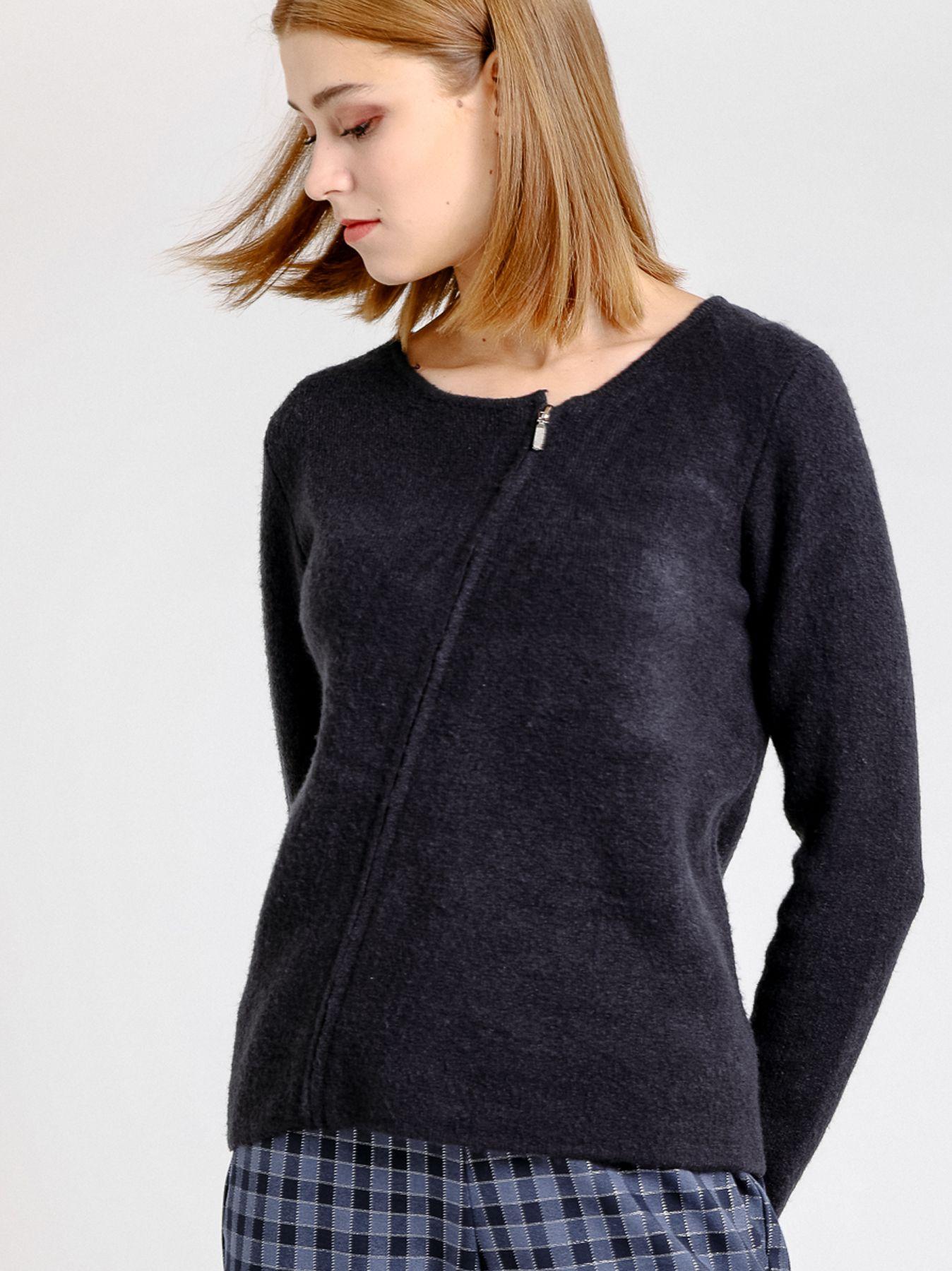 Giacca corta in maglia con zip