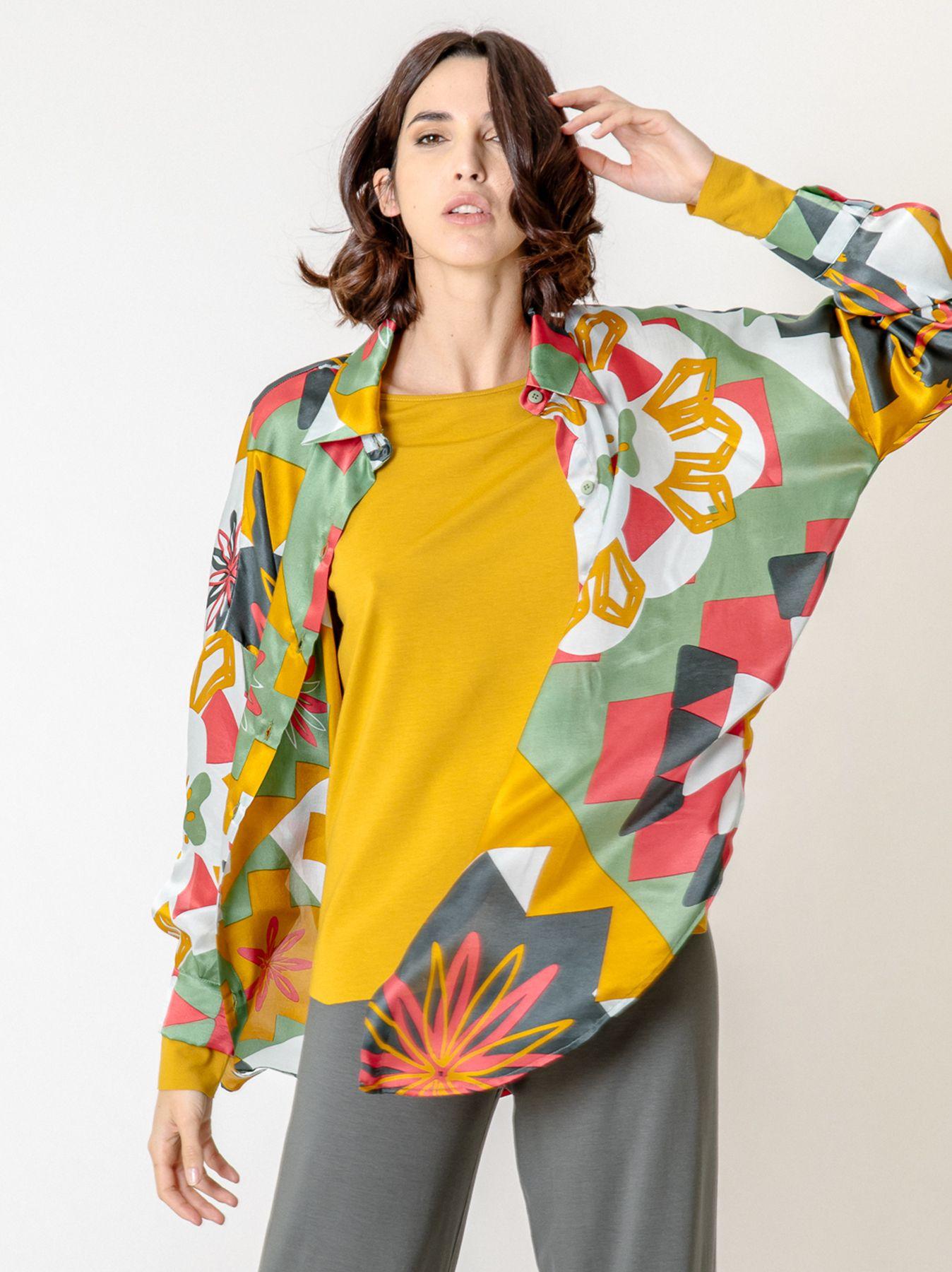 Maxi camicia in viscosa stampata