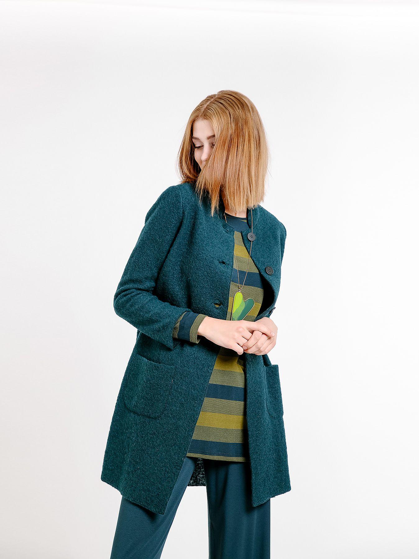 Giacca lunga in lana cotta