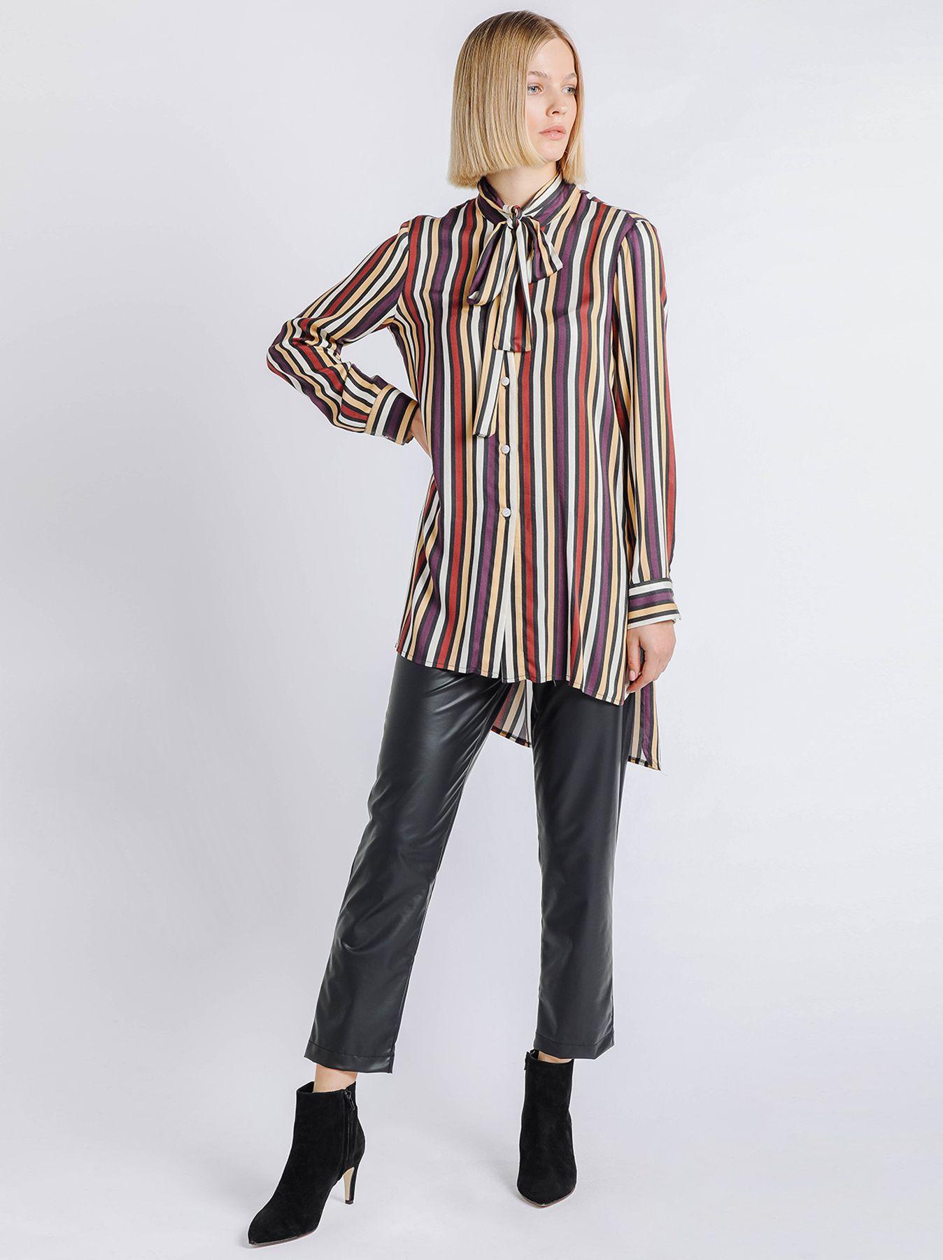 Camicia a righe multicolor