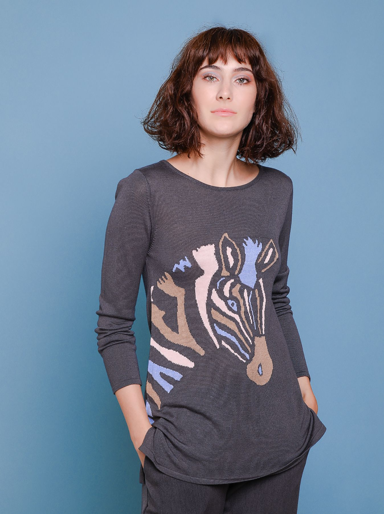 Maglia jacquard zebra