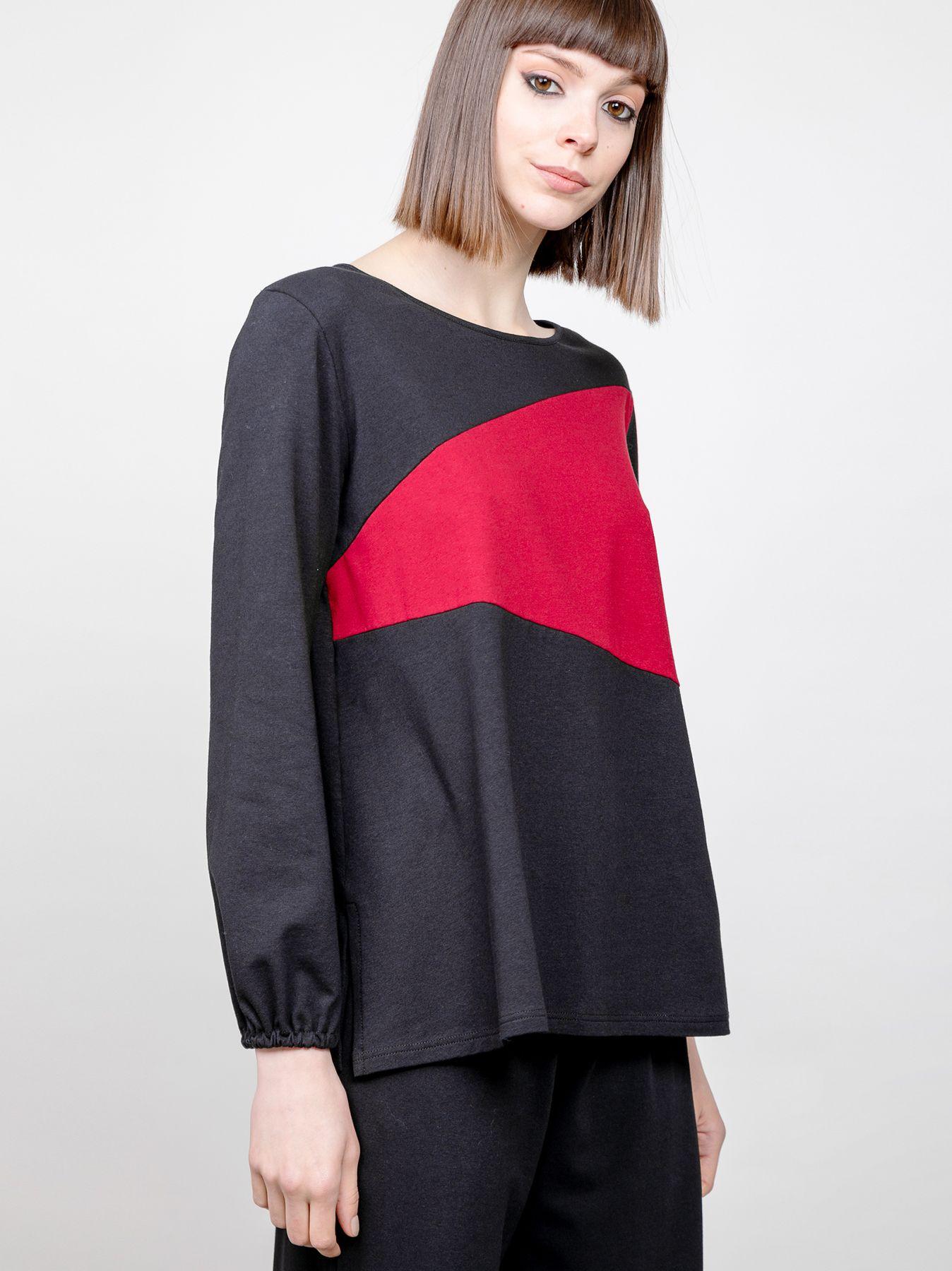 T-shirt svasata bicolore