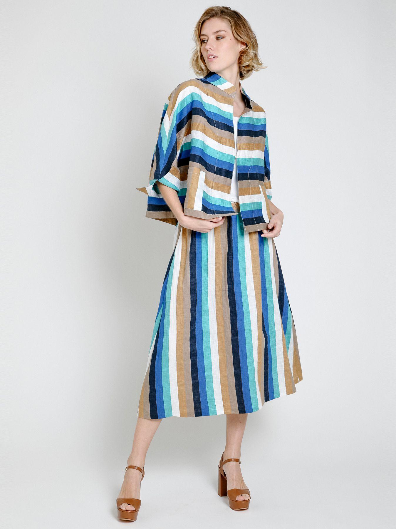 Giacca kimono in lino rigato