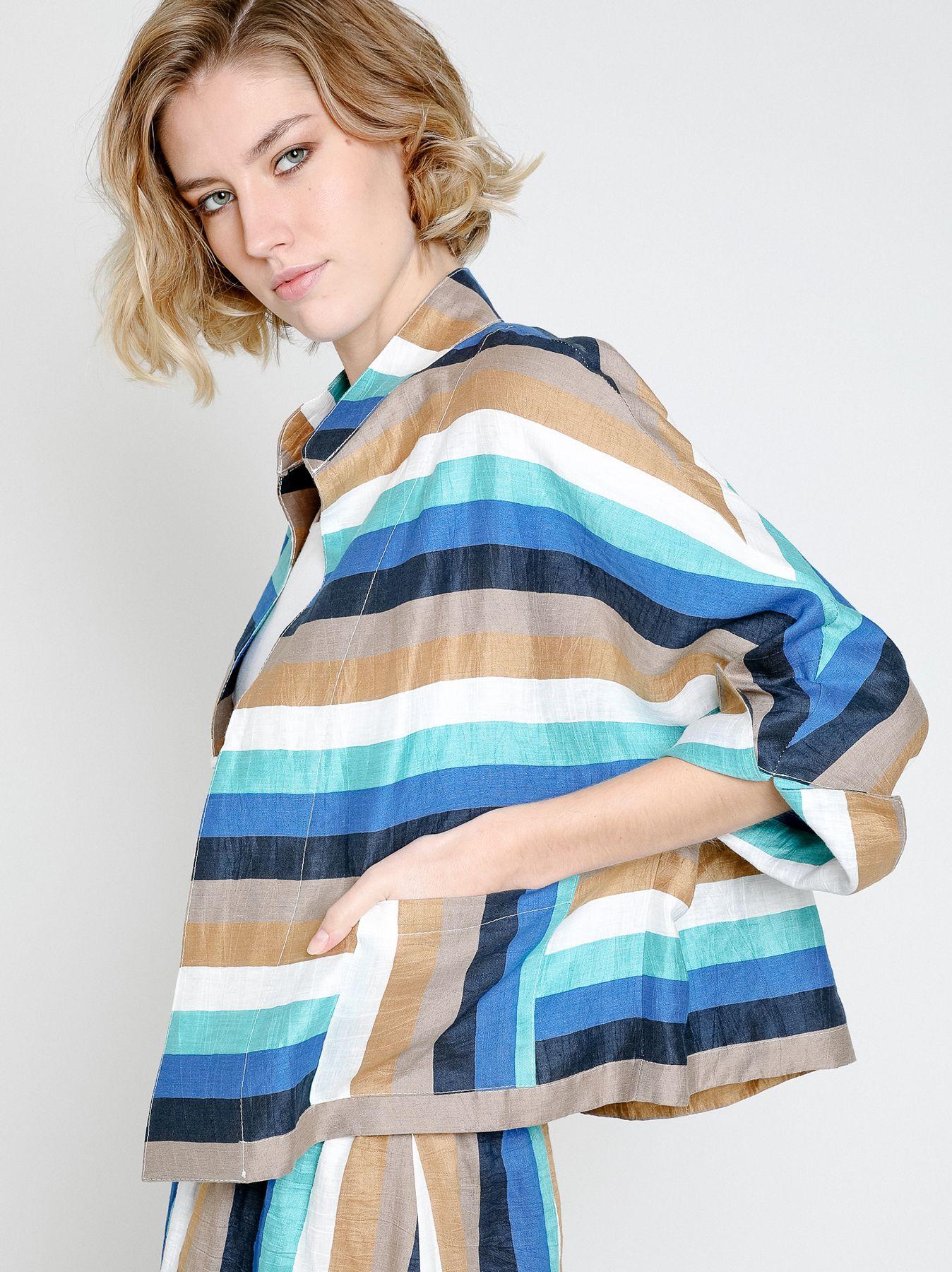 Fleece linen kimono jacket