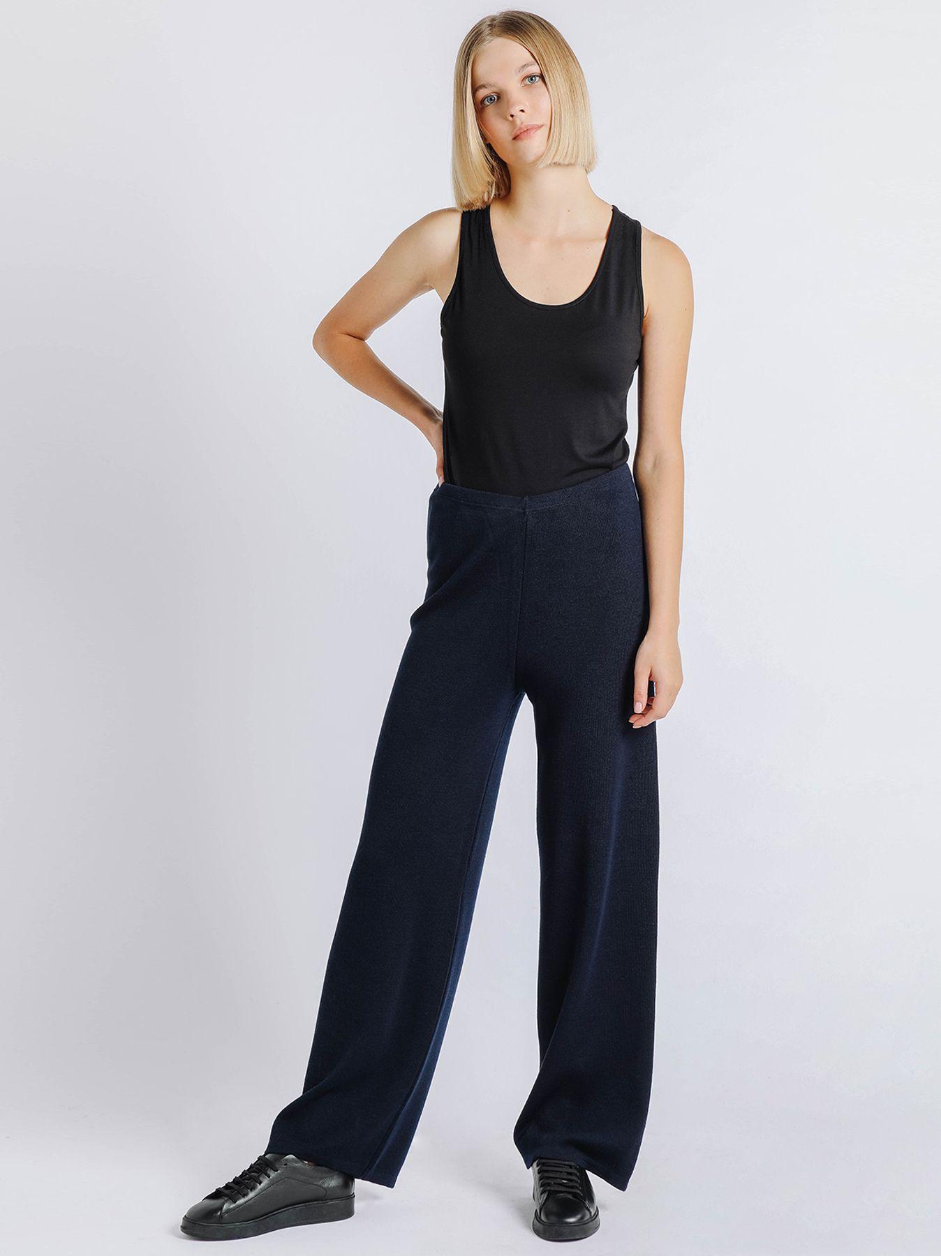Pantalone elastico in maglia BLU SCURO