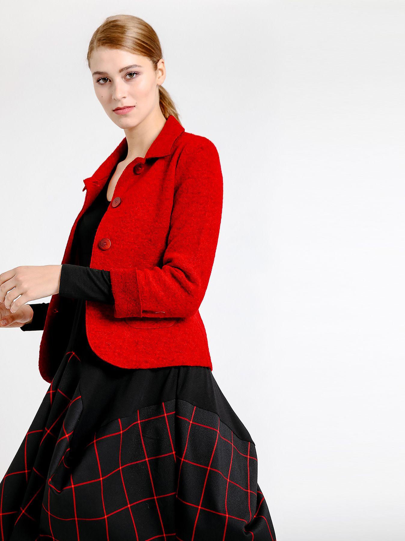 Giacca blazer in lana cotta