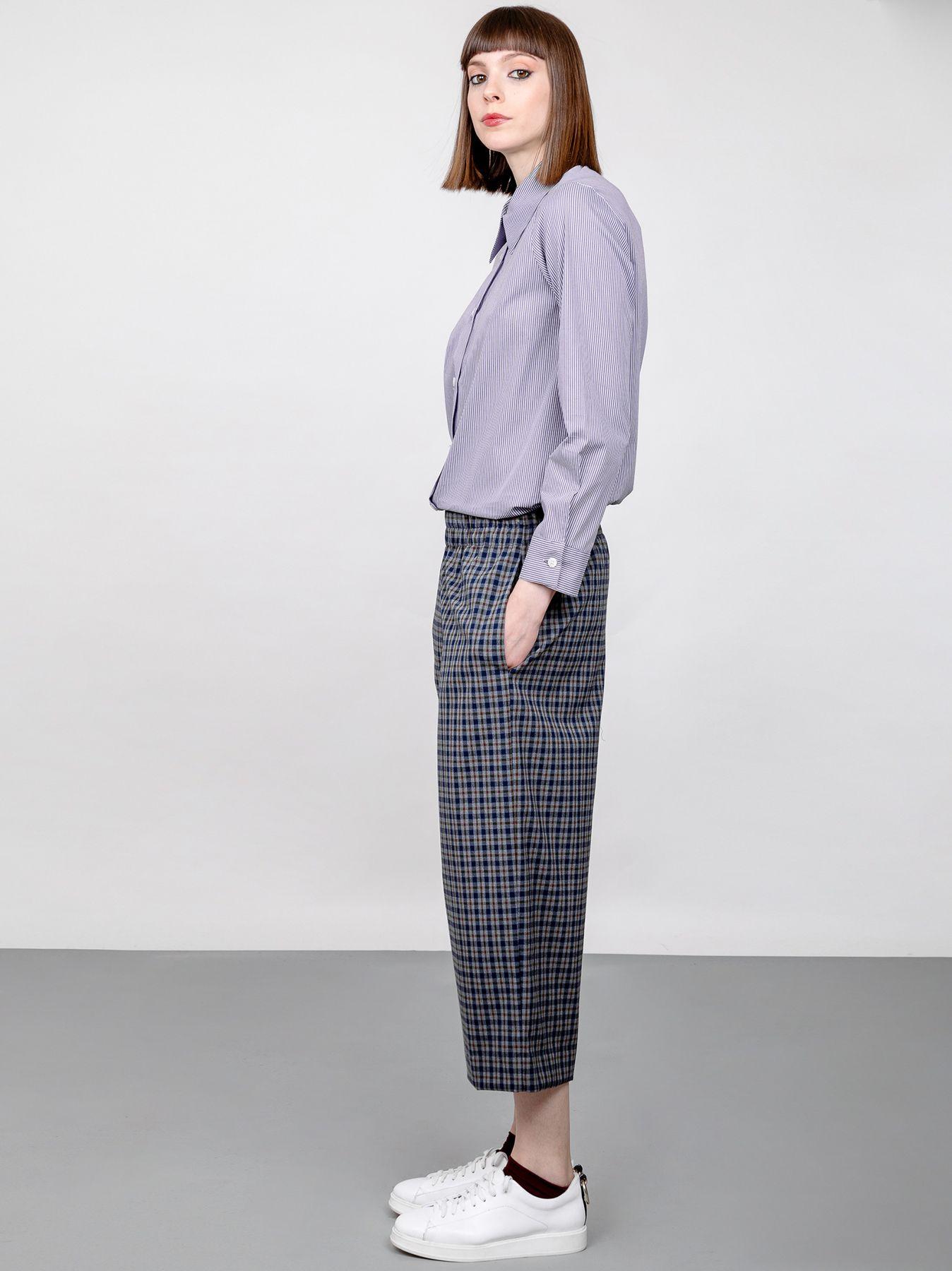 Pantalone palazzo corto in tessuto check