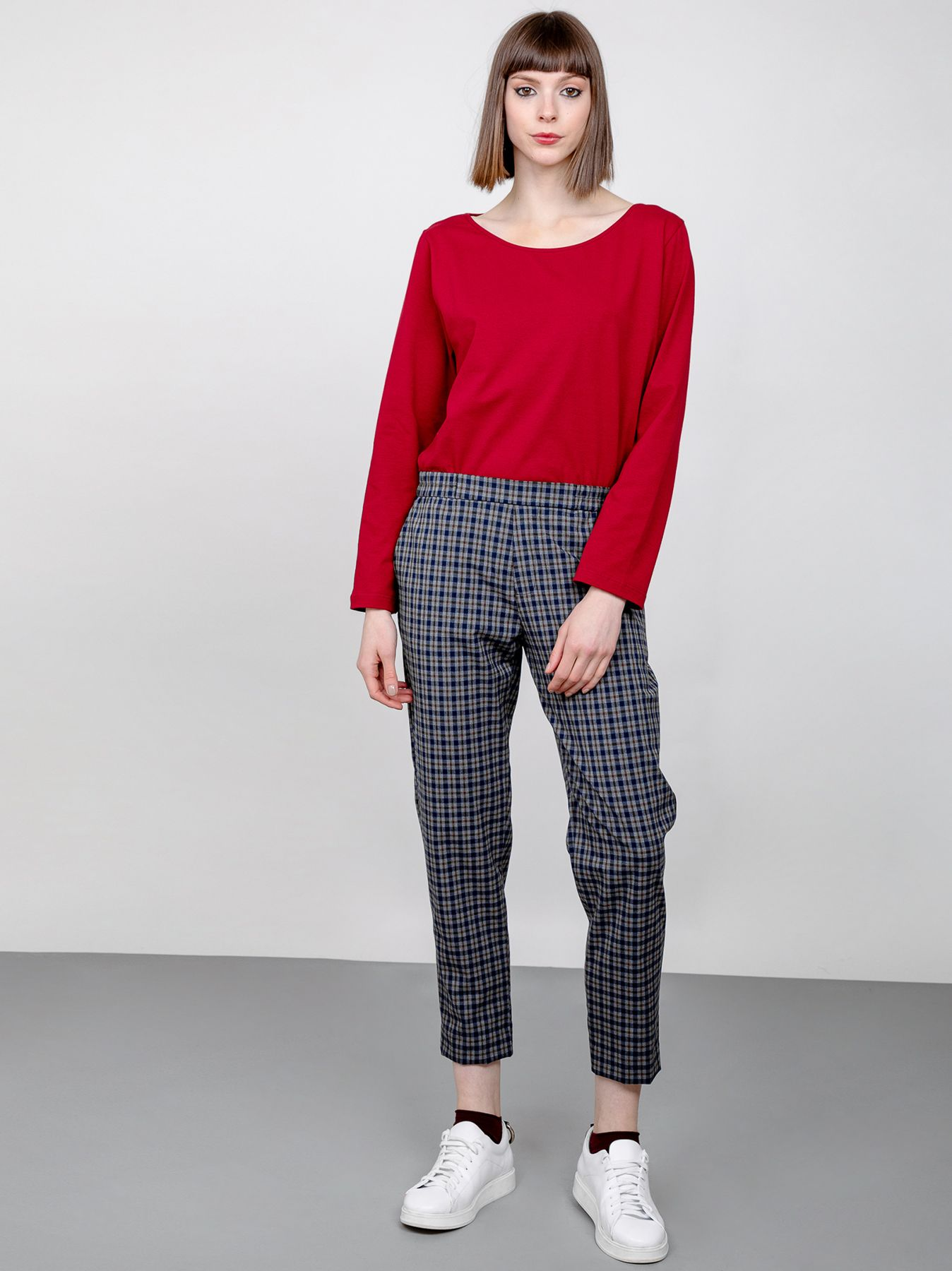 Pantalone chino in tessuto check