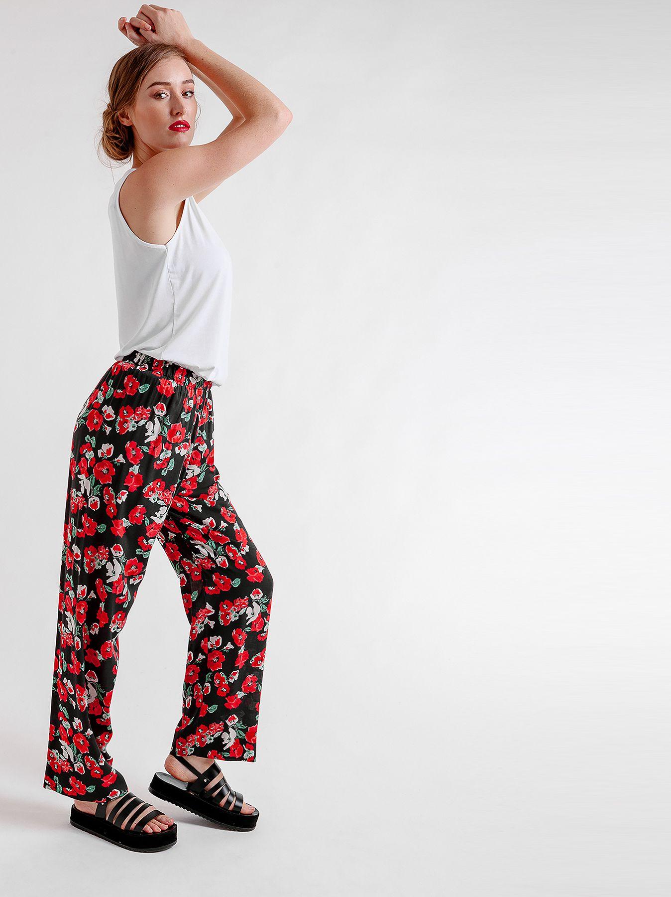 Pantalone elastico FLOWER PRINT