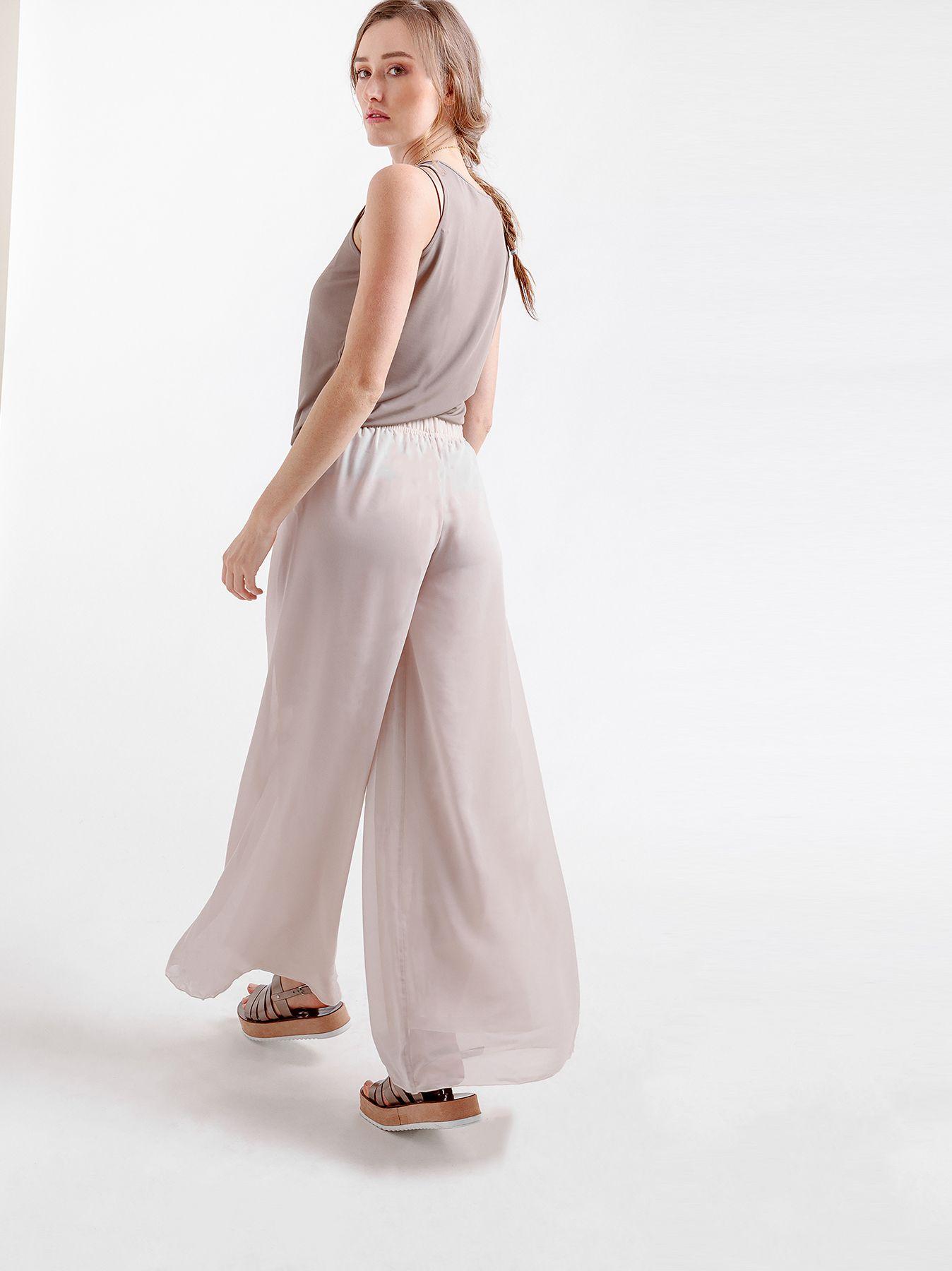 Elastic chiffon trousers